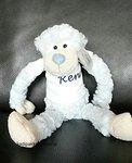 Slinger aap licht blauw met naam