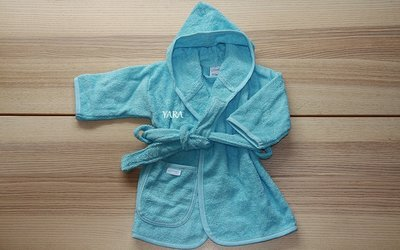 Badjas Turquoise met Naam 0-12 maanden