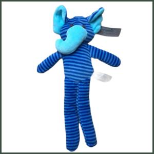Knuffel rammelaar Olifant blauw gestreept