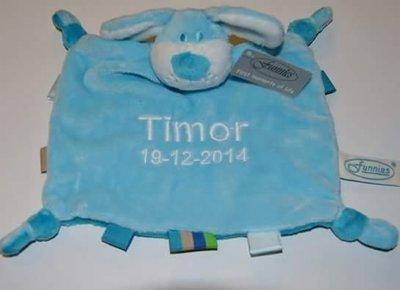 Tutpop  hond met naam ( Blauw)