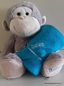 Aap en badcape met naam (blauw)