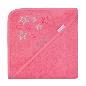 Badcape roze met ster met naam