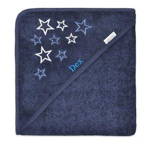 Badcape blauw met ster met naam
