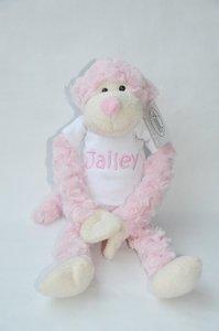 Slinger aap licht roze met naam